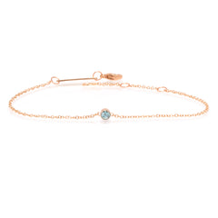 14k single bezel aquamarine bracelet | March BIRTHSTONE