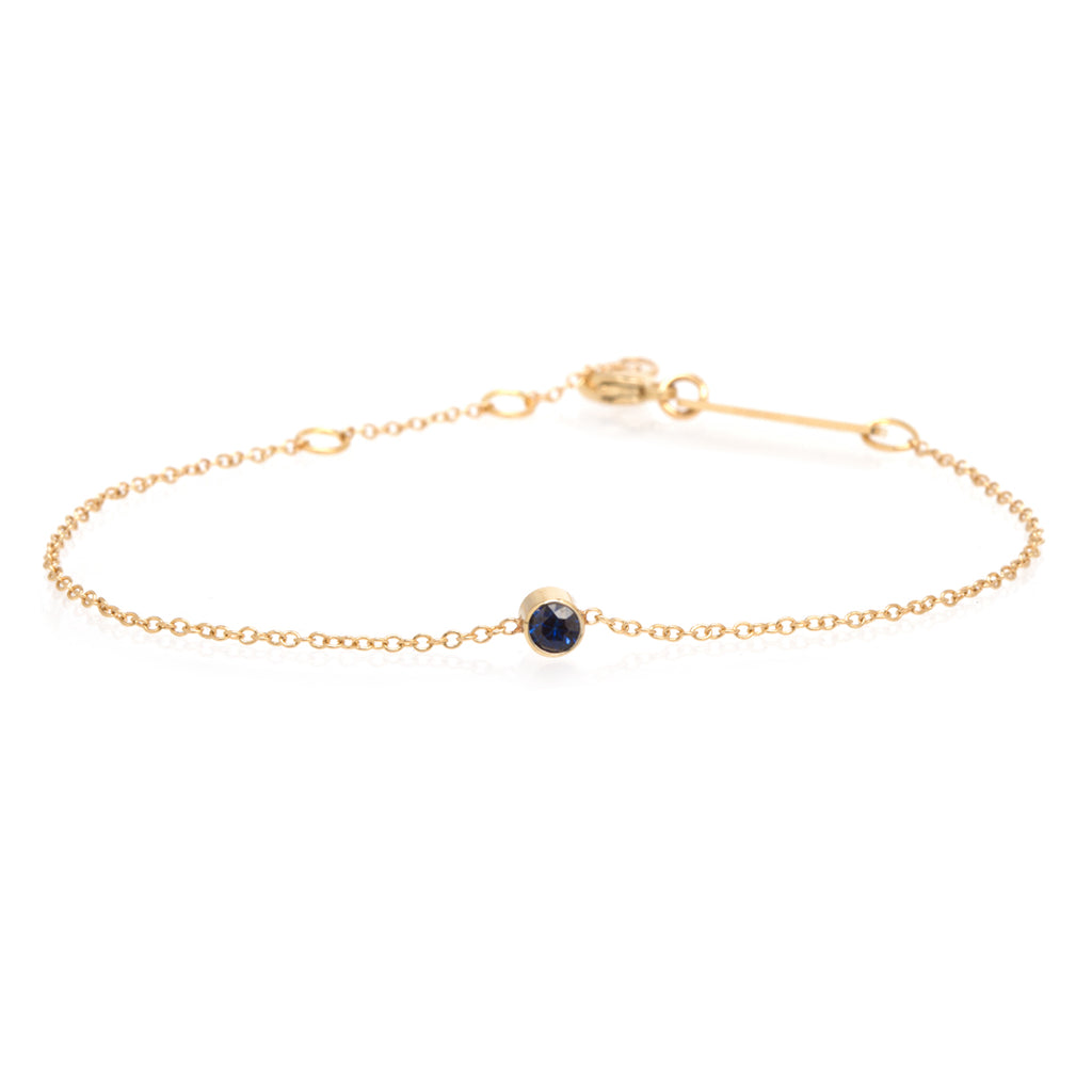 14k single bezel sapphire bracelet | SEPTEMBER BIRTHSTONE