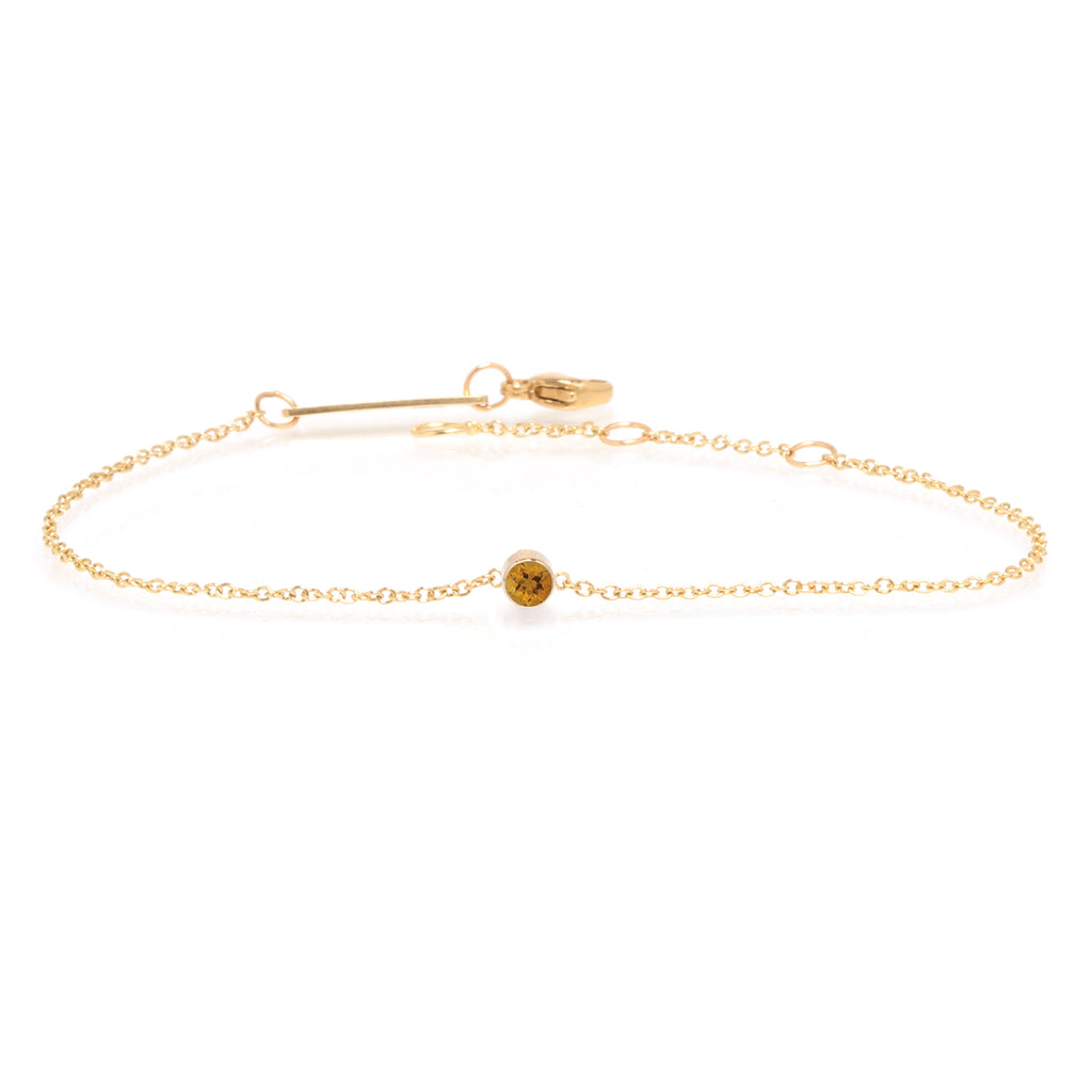 14k single bezel citrine bracelet | November BIRTHSTONE
