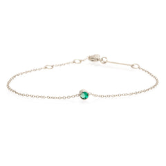 14k single bezel emerald bracelet | MAY BIRTHSTONE