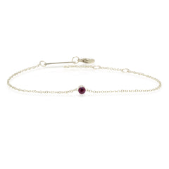 14k single bezel garnet bracelet | January BIRTHSTONE