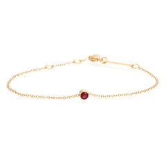 14k single bezel ruby bracelet | JULY BIRTHSTONE