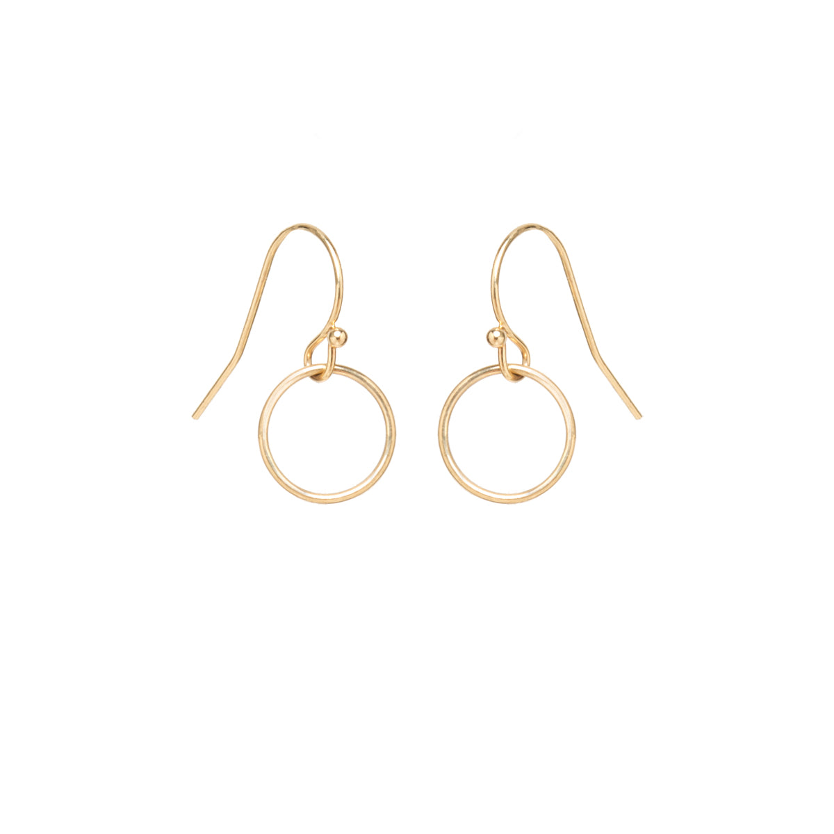 14k tiny drop circle earrings