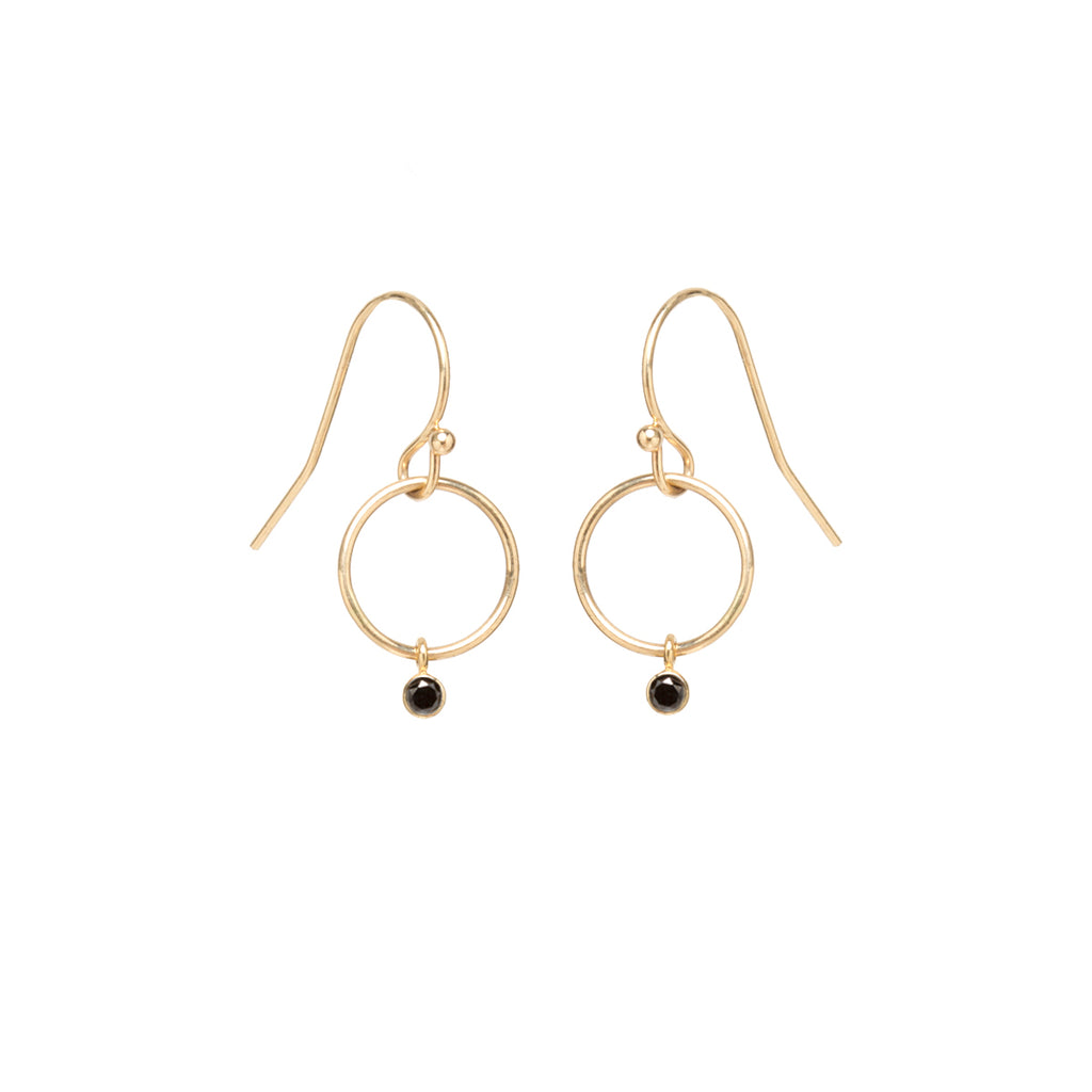 14k black diamond tiny drop circle earrings