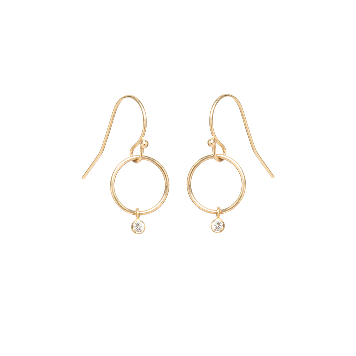 Zoë Chicco 14kt Yellow Gold Diamond Tiny Drop Circle Earrings