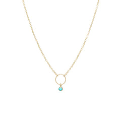 Zoë Chicco 14kt Yellow Gold Dangling Bezel Set Turquoise Circle Necklace