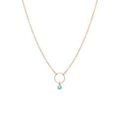 Zoë Chicco 14kt Rose Gold Dangling Bezel Set Turquoise Circle Necklace