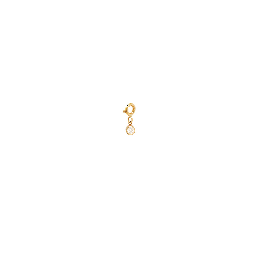 14k small white diamond charm pendant with spring ring