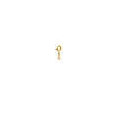 14k single small white diamond charm pendant