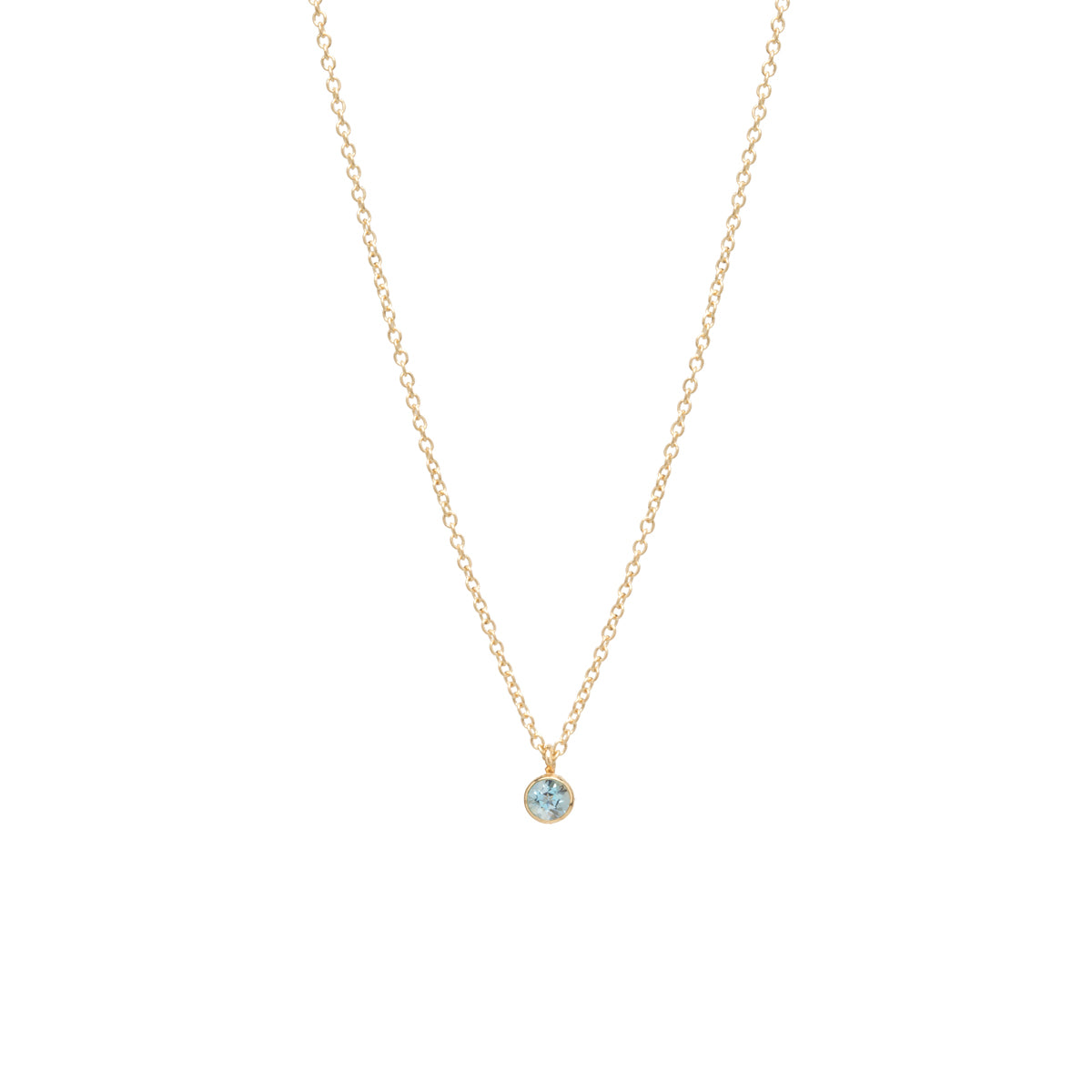 14k single aquamarine choker pendant necklace | March BIRTHSTONE