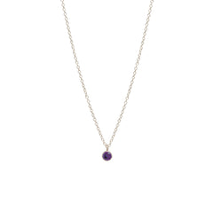 14k single amethyst choker pendant necklace | February birthstone
