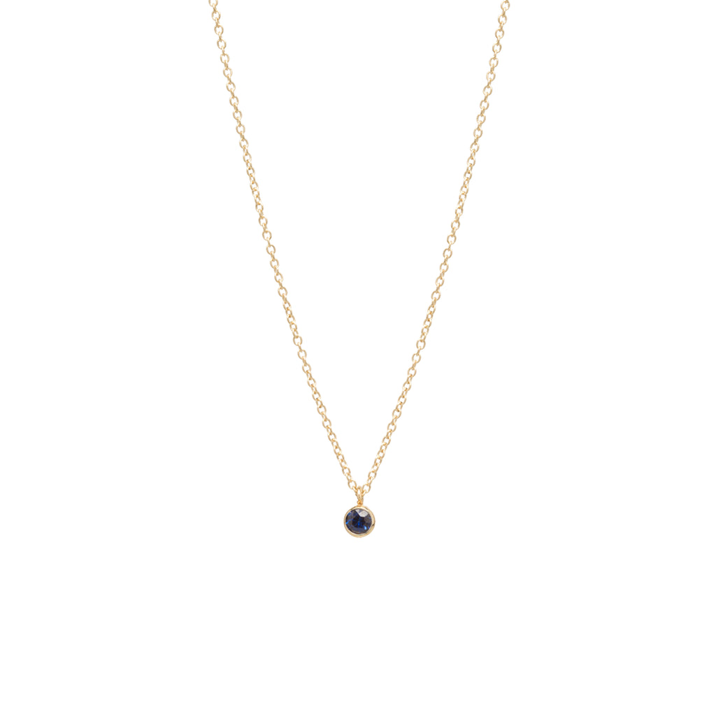 14k single blue sapphire choker pendant necklace | SEPTEMBER BIRTHSTONE