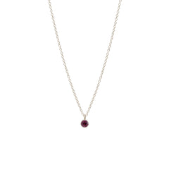 14k single garnet choker pendant necklace | January BIRTHSTONE