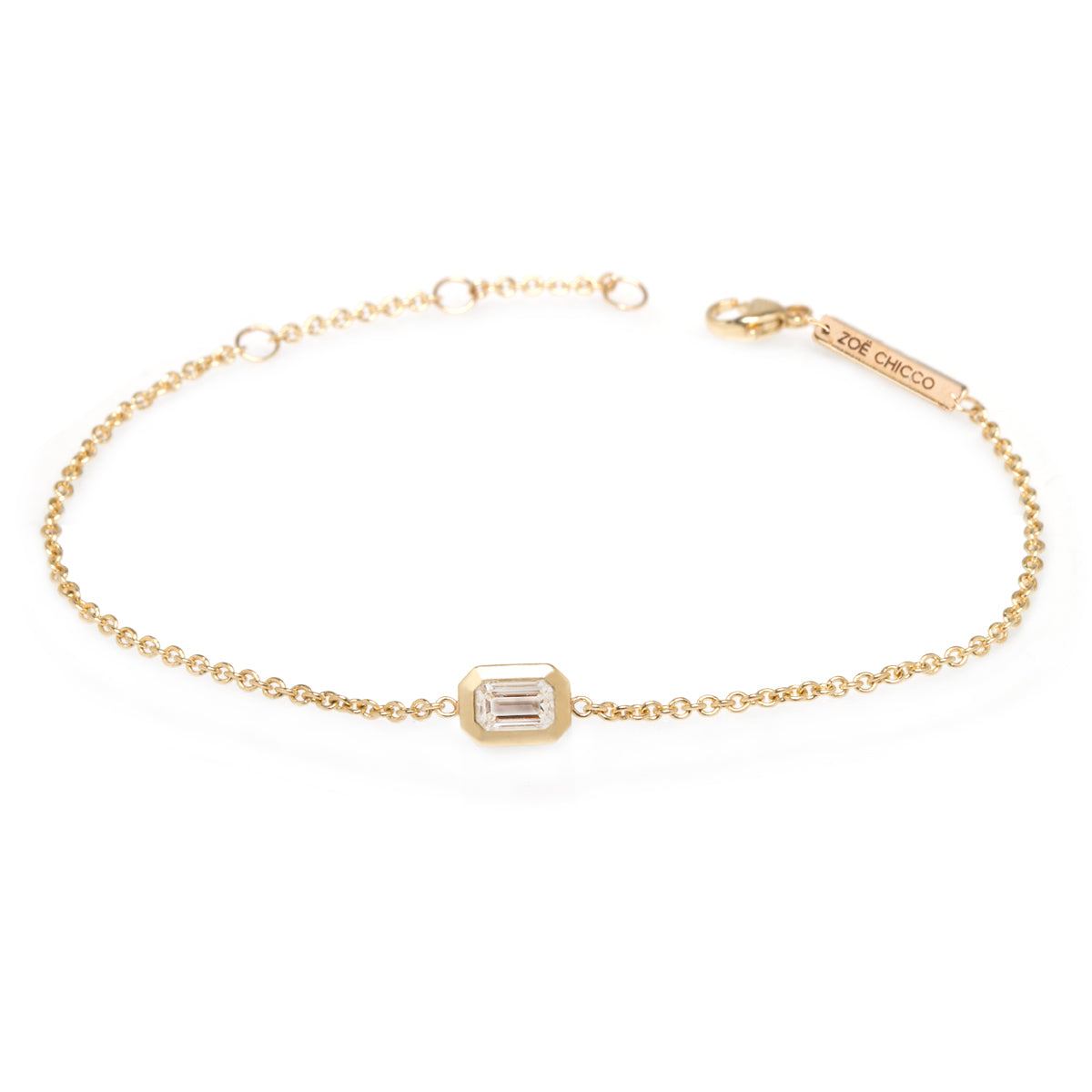 14k emerald cut diamond bracelet