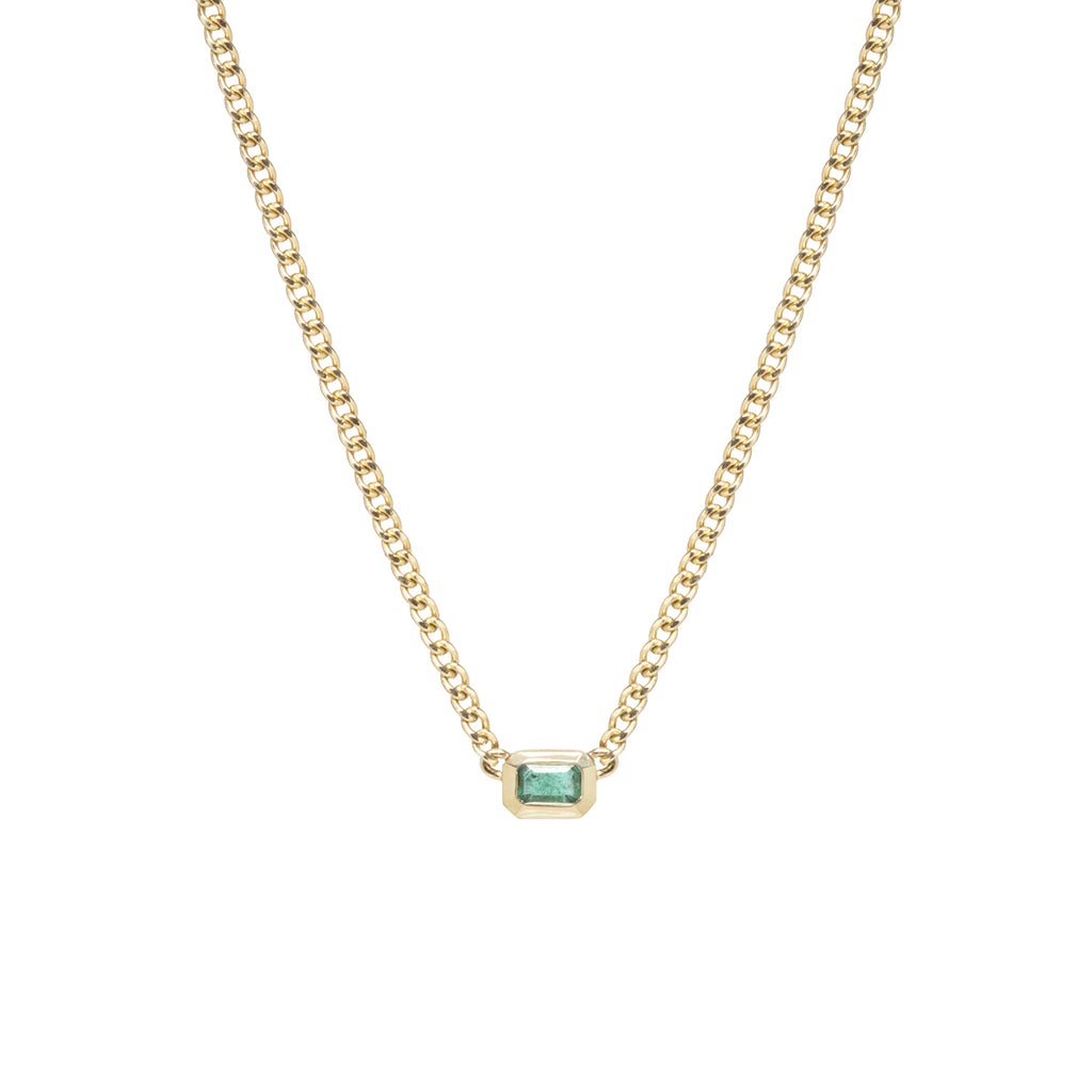 14k gold bezel set emerald-cut emerald necklace on extra small curb chain