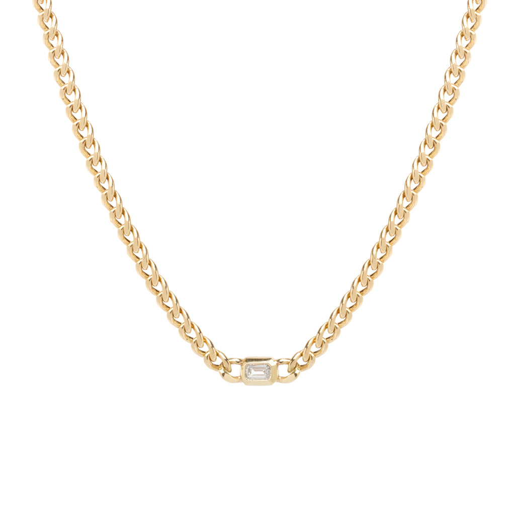 14k gold large curb chain necklace with emerald cut diamond