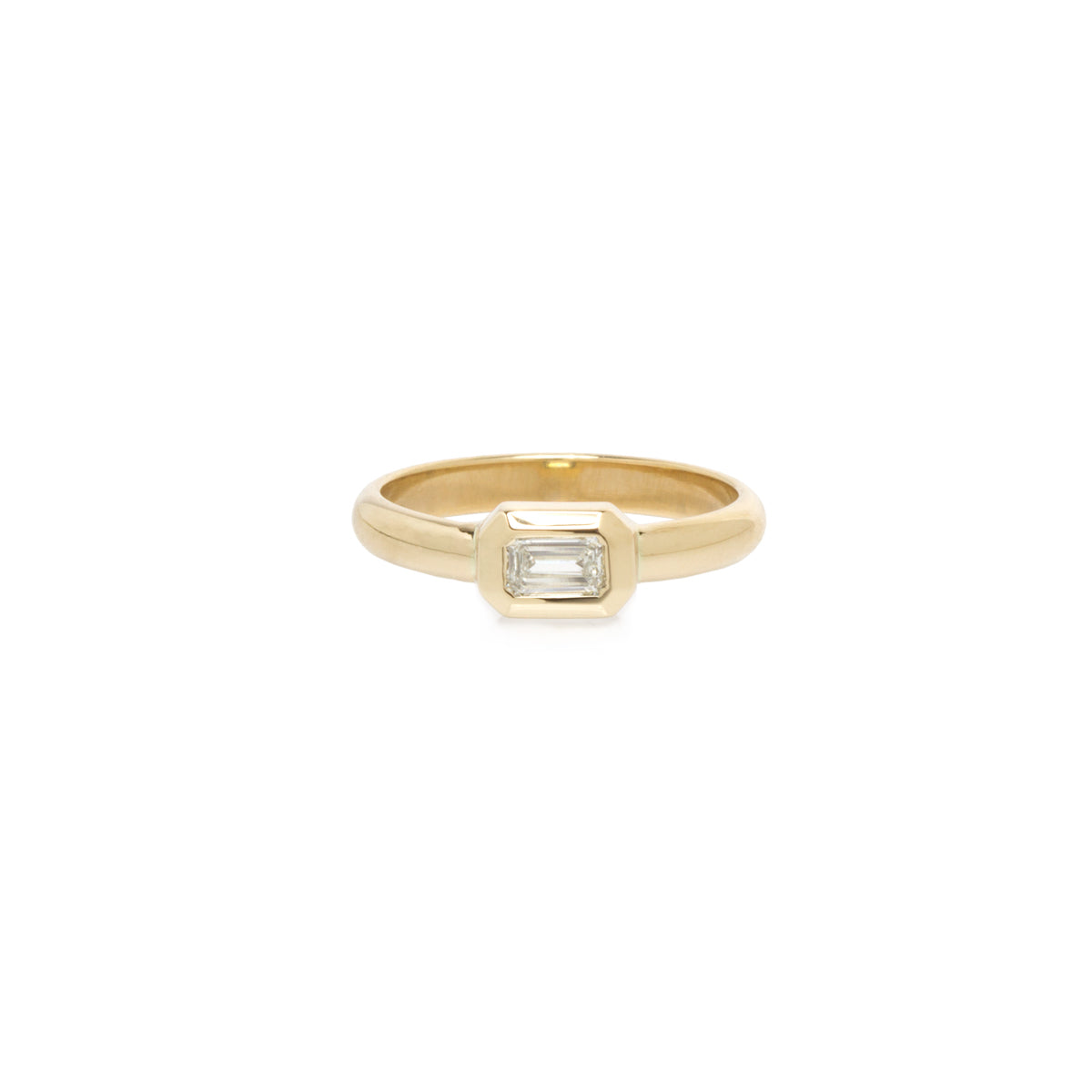 14k bezel set emerald cut diamond ring