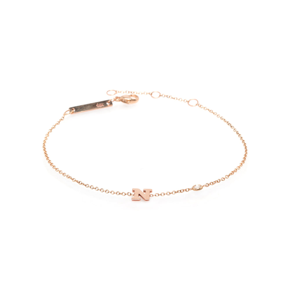 Zoë Chicco 14kt Yellow Gold Letter Bracelet with Floating Diamond