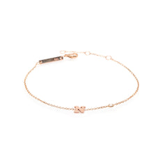 Zoë Chicco 14kt Rose Gold Letter Bracelet with Floating Diamond