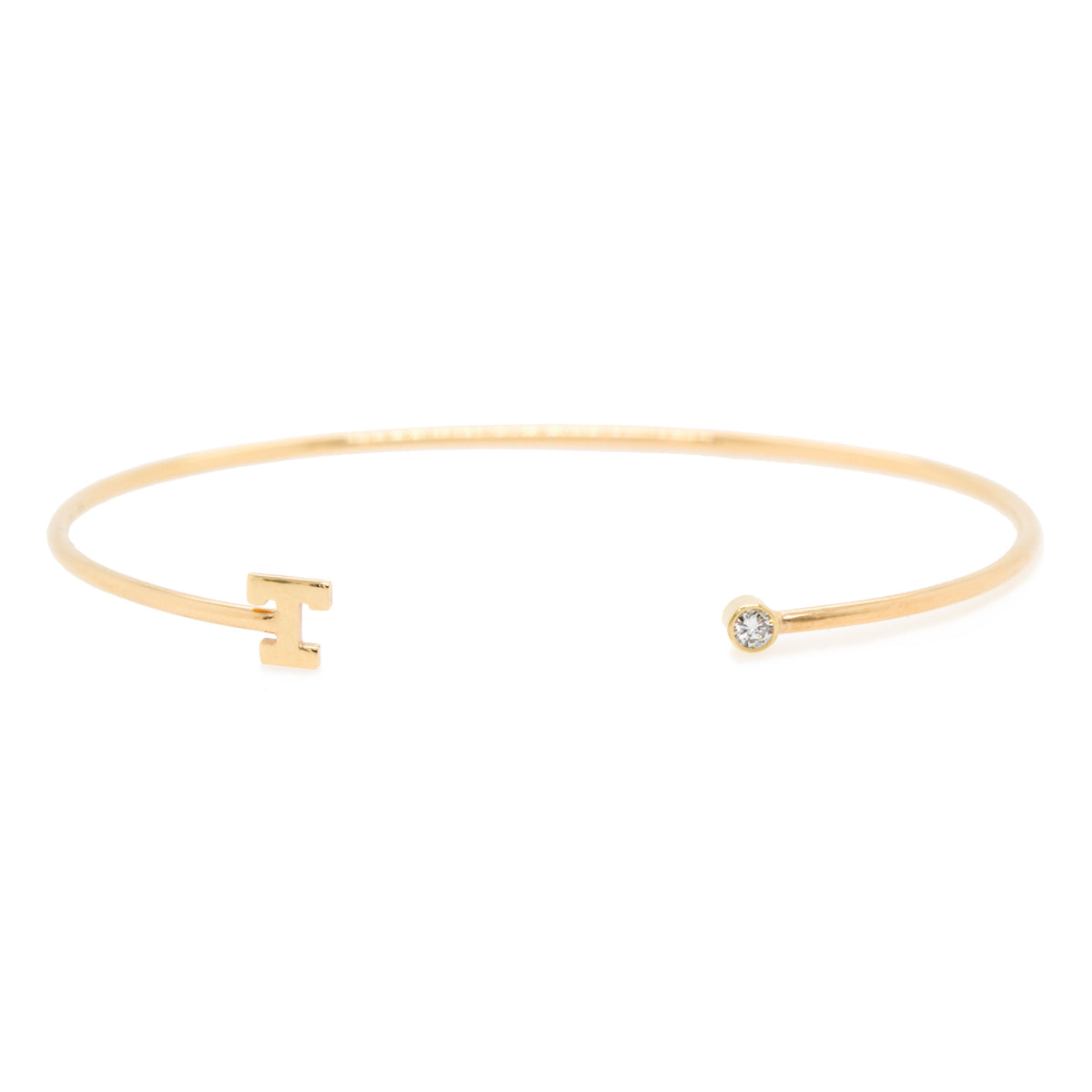 14k bezel diamond and initial open cuff bracelet
