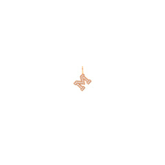 14k single pave diamond large letter charm pendant