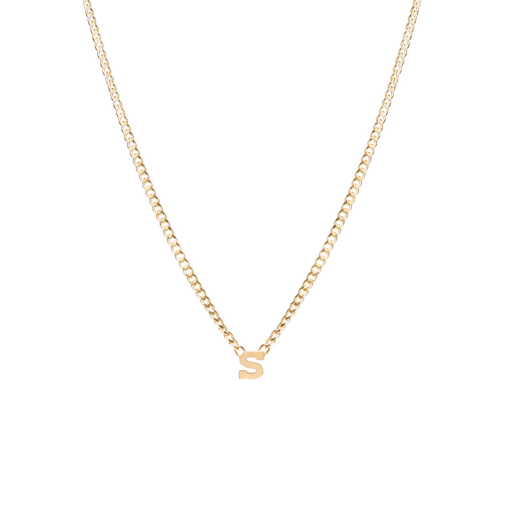 14k letter necklace on XS curb chain