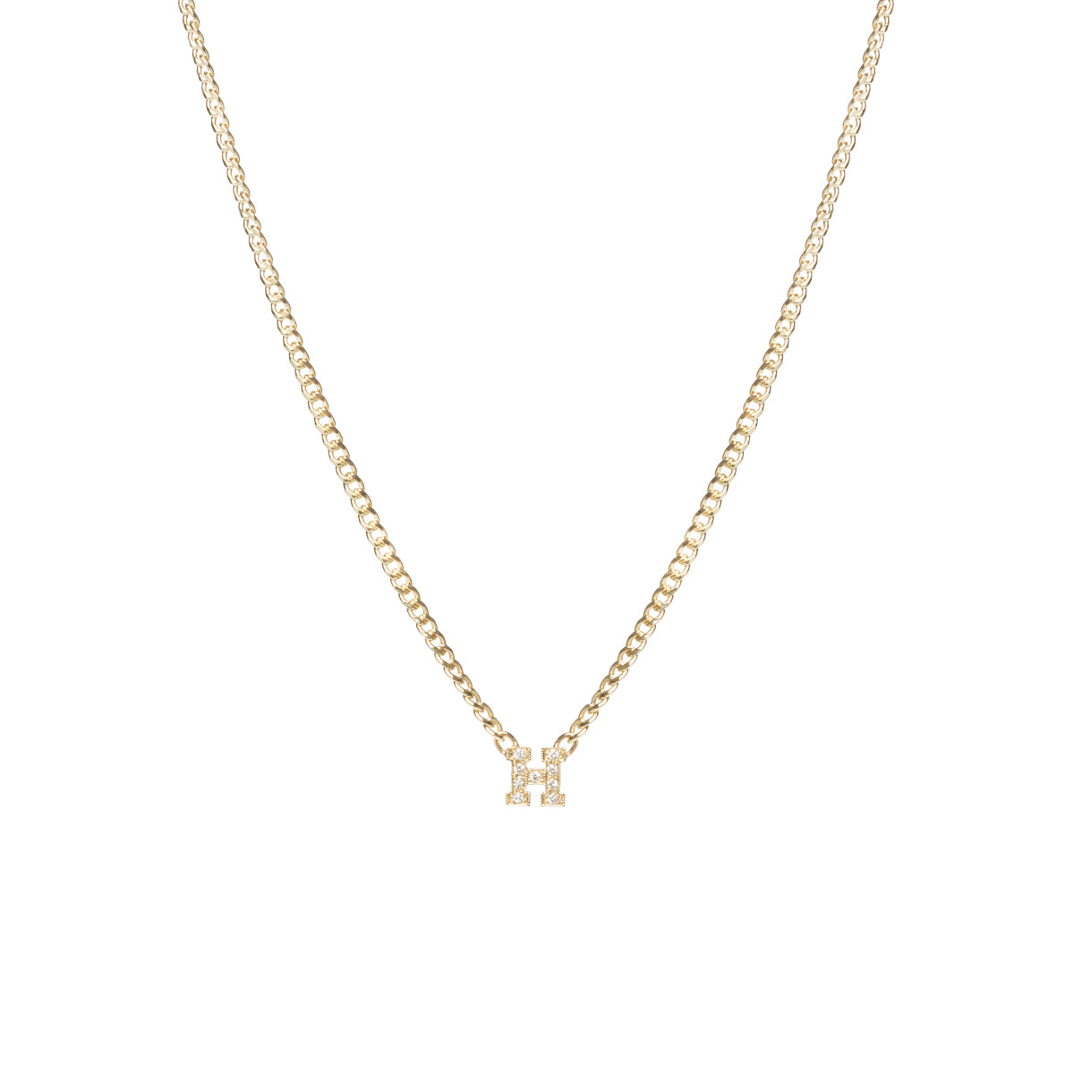 14k pave diamond letter necklace on XS curb chain