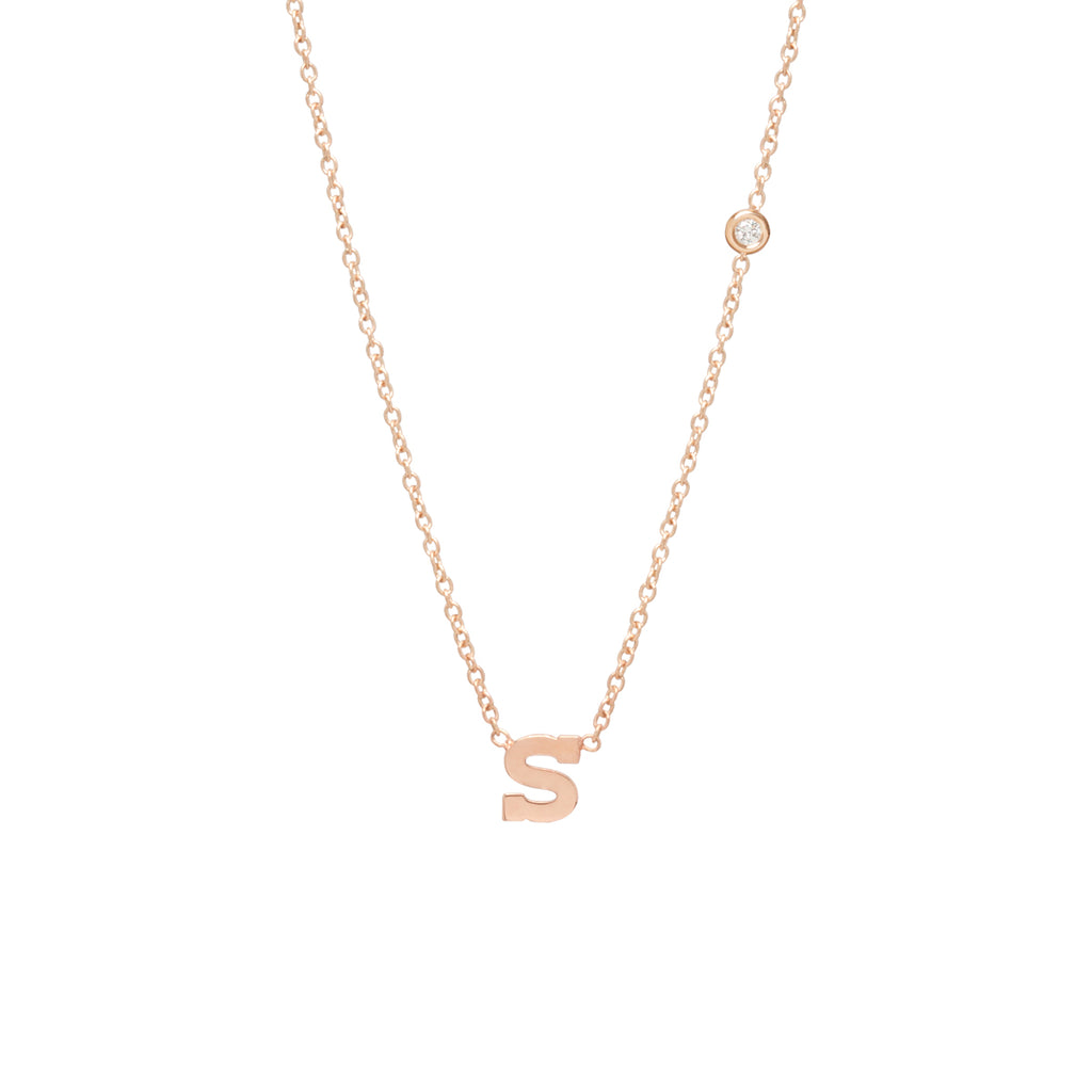 Zoë Chicco 14kt Yellow Gold Floating White Diamond Letter Necklace