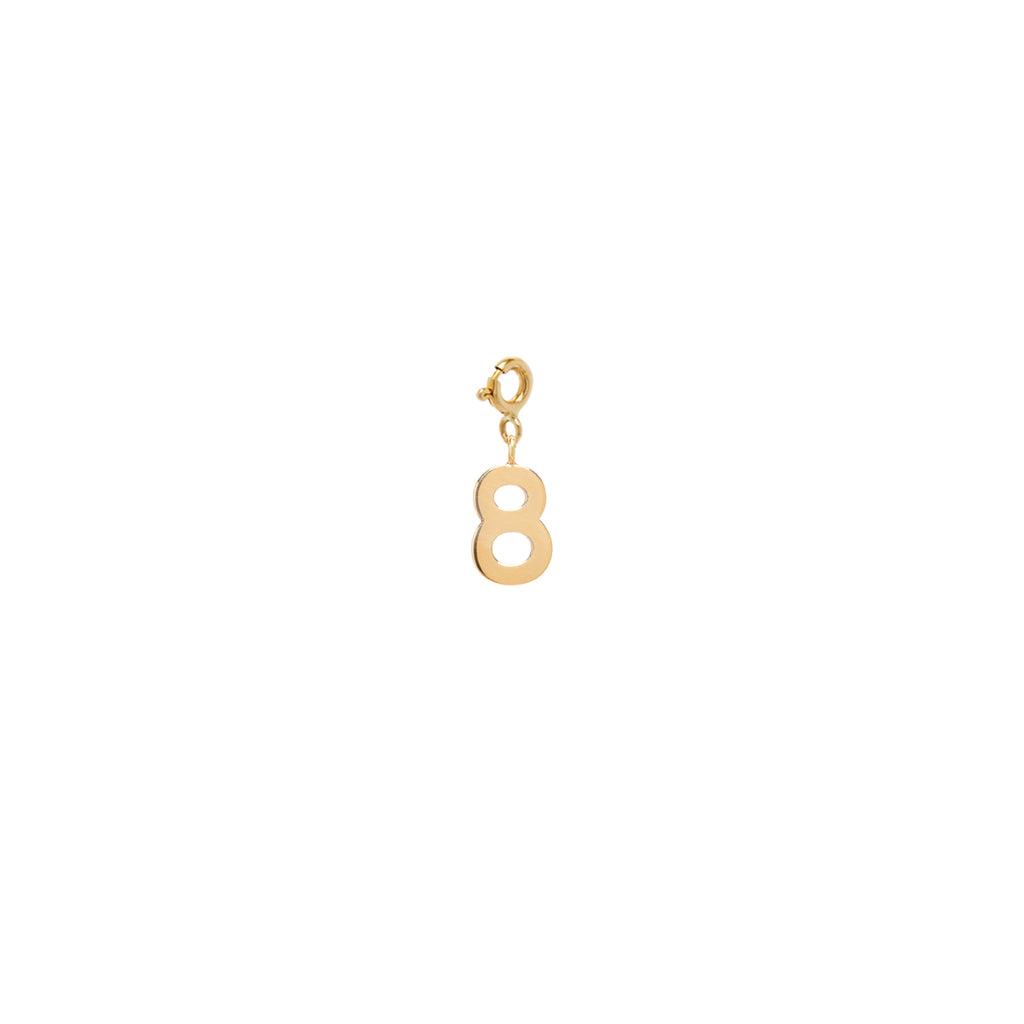 14k number charm pendant with spring ring