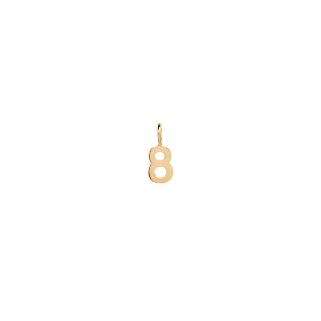 14k number charm pendant