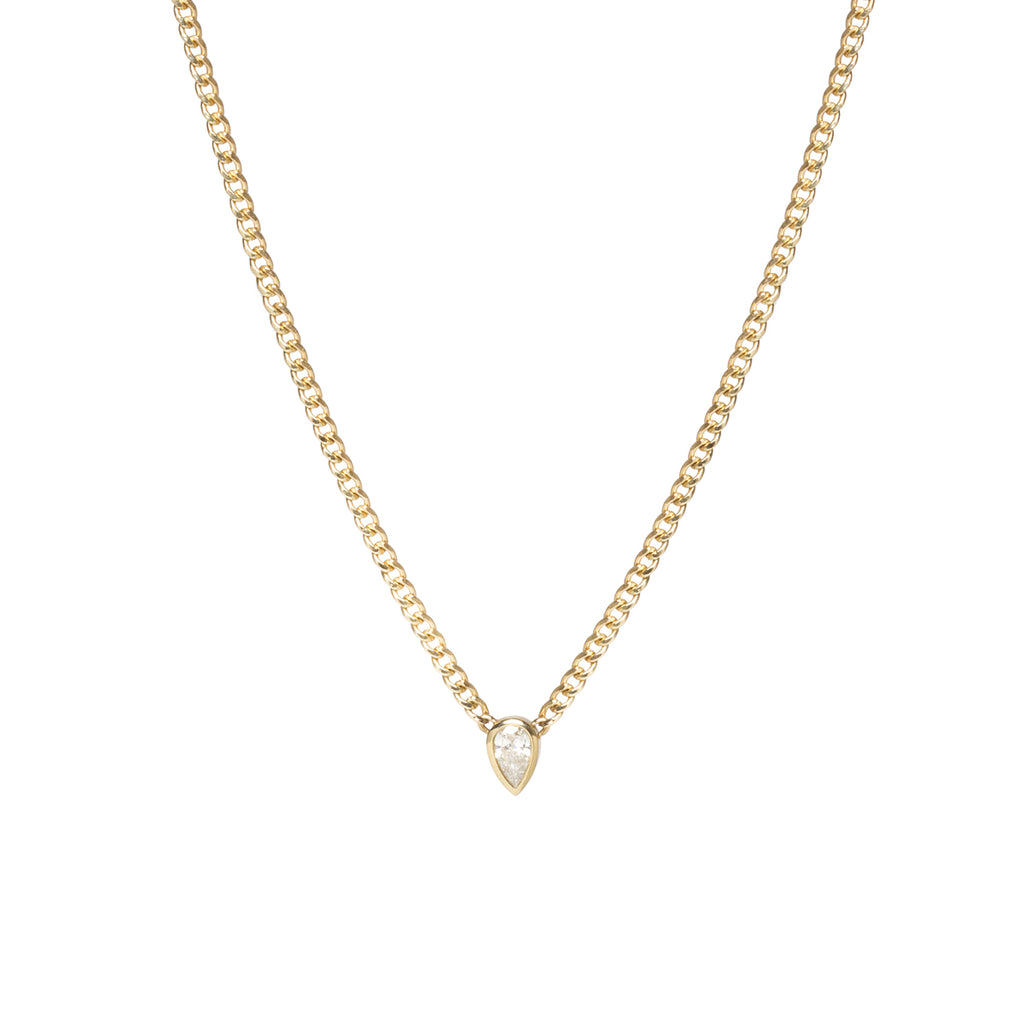 14k gold extra small curb chain necklace with pear shape diamond