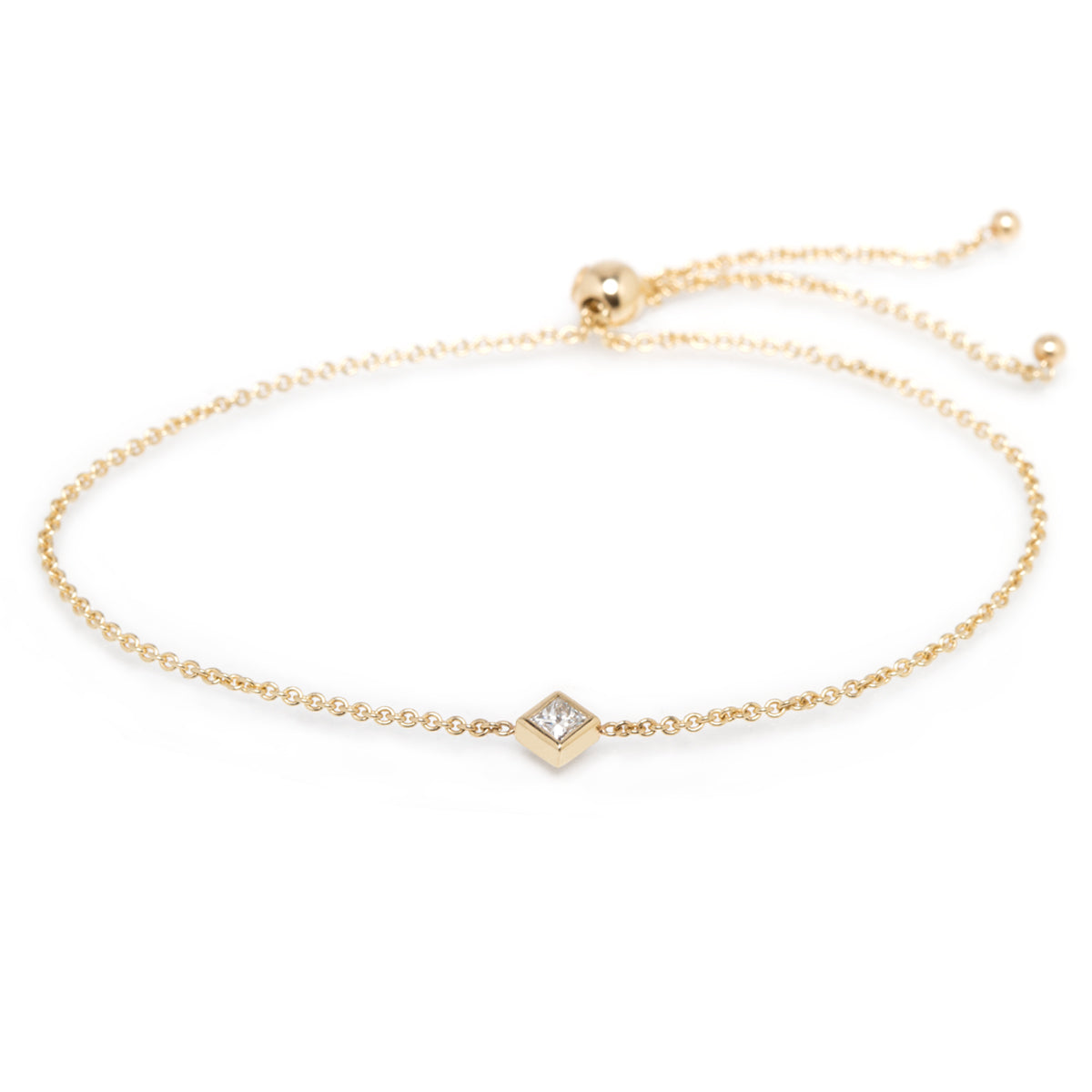 14k princess cut diamond bolo bracelet