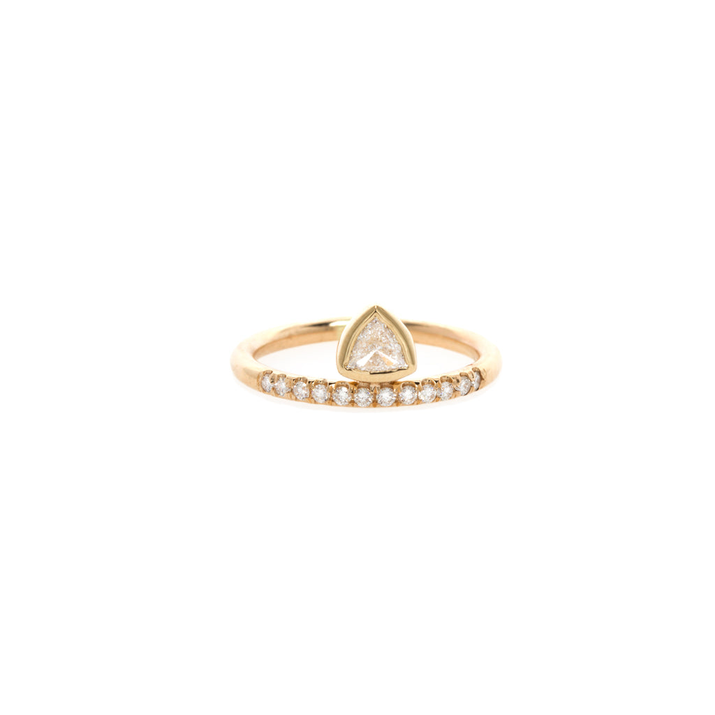 14k trillion and pave diamond thick band ring