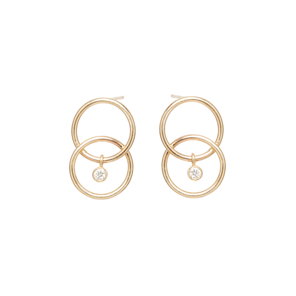 Zoë Chicco 14kt Yellow Gold Bezel Set White Diamond Chain Link Circle Earrings