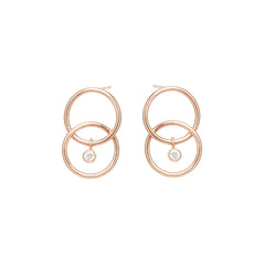 Zoë Chicco 14kt Rose Gold Bezel Set White Diamond Chain Link Circle Earrings