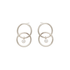 Zoë Chicco 14kt White Gold Bezel Set White Diamond Chain Link Circle Earrings