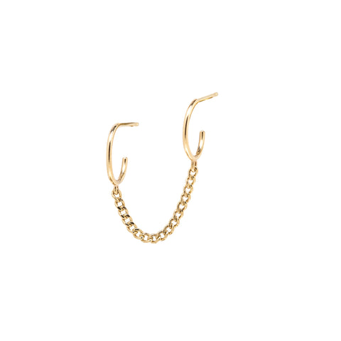 14k Double Huggie Earring With Extra Small Curb Chain