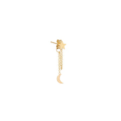 14k itty bitty star & moon chain stud earring