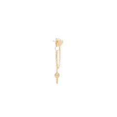 14k itty bitty heart & key chain stud earring
