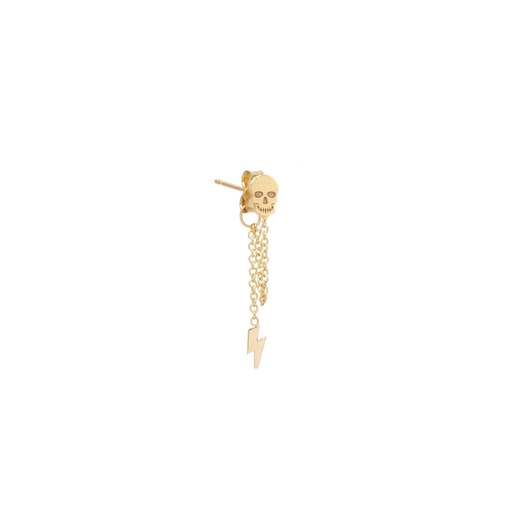 14k itty bitty skull & lightning bolt chain stud earring