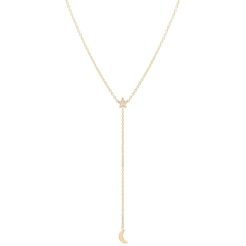 Zoë Chicco 14kt Yellow Gold Itty Bitty Pave Diamond Star & Moon Lariat Necklace