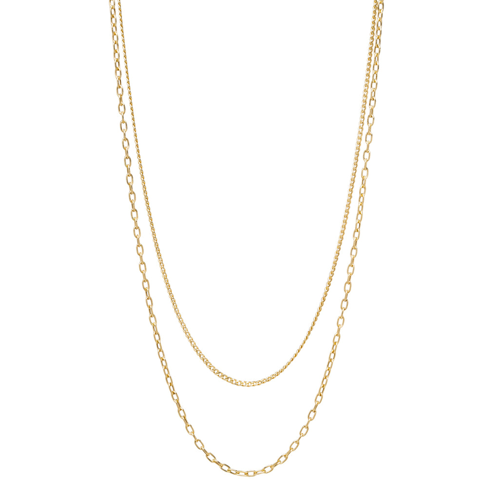 14k gold layered extra small curb chain & oval link necklace