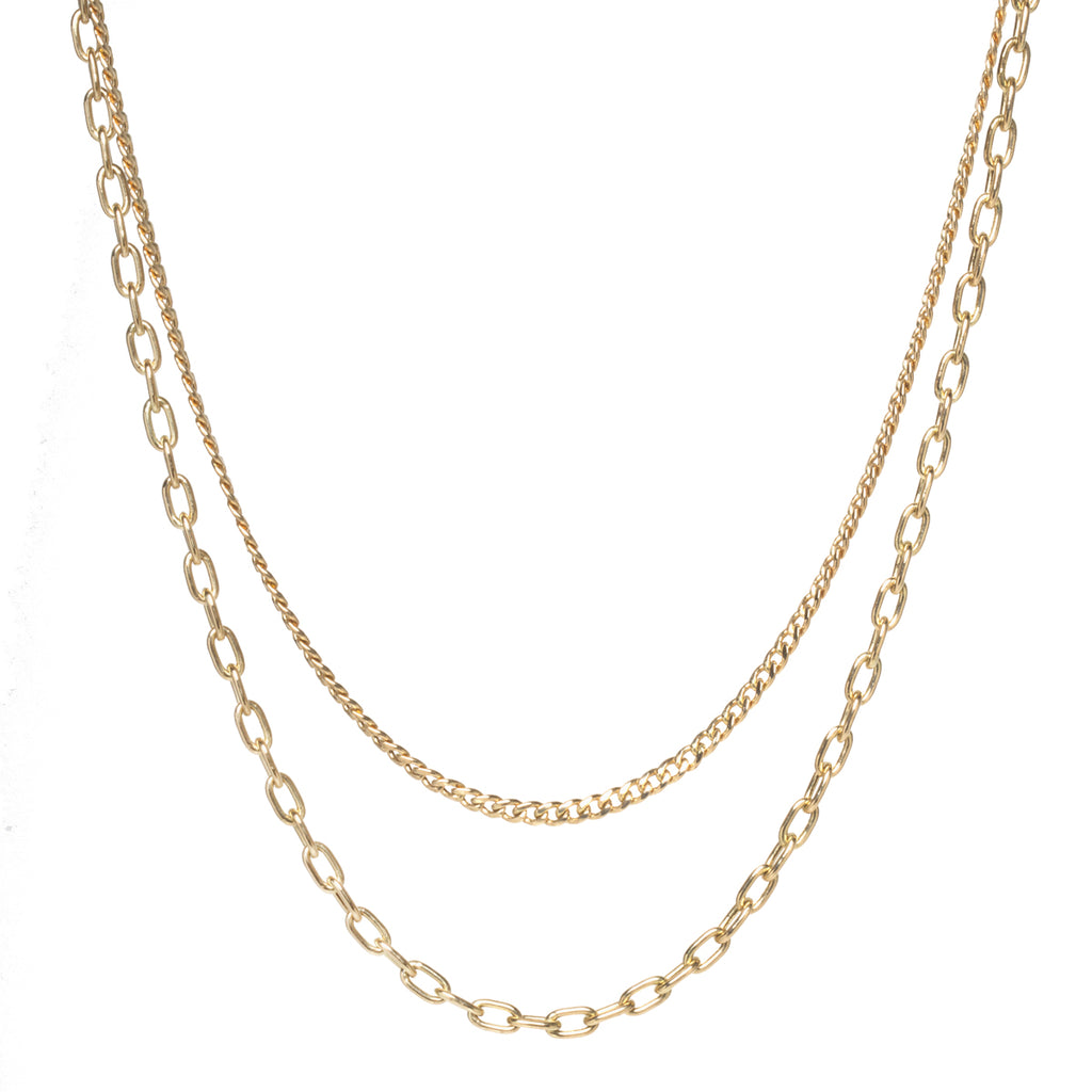 14k gold layered medium curb chain & oval link necklace