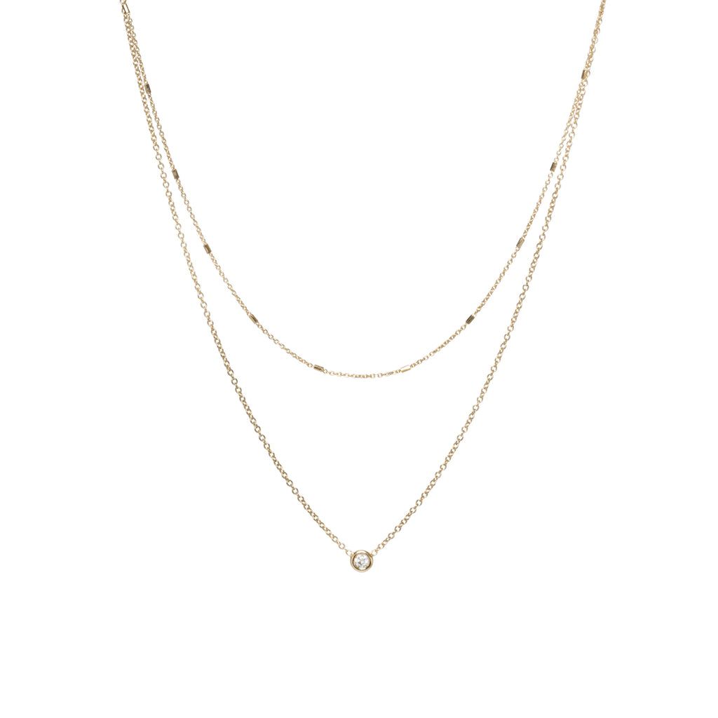14k gold layered tiny bar chain and floating diamond necklace