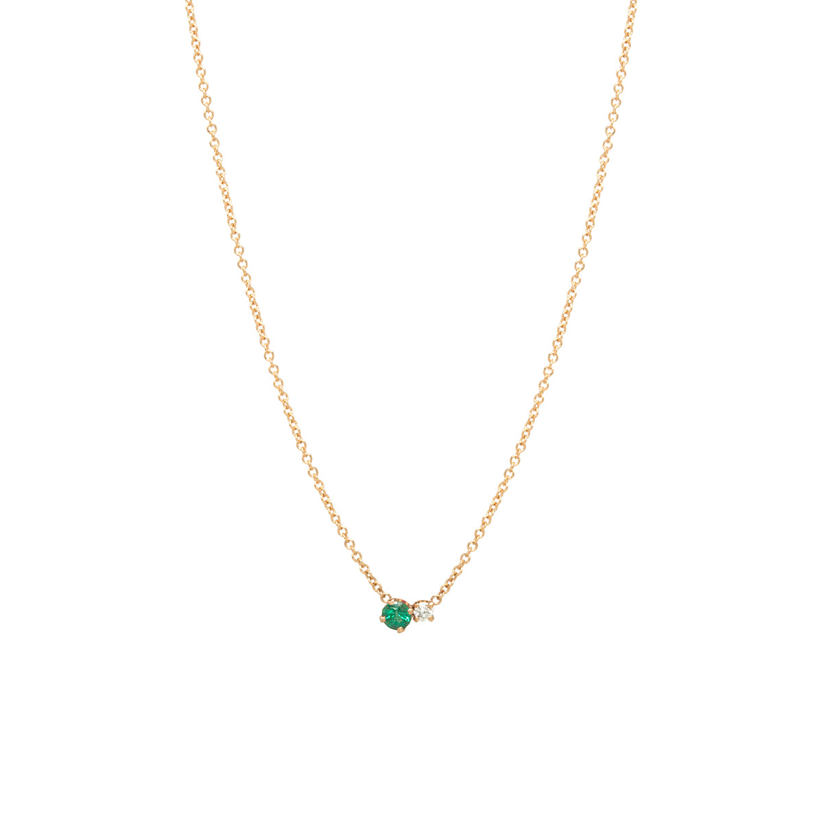 14k Prong Diamond & Emerald Necklace