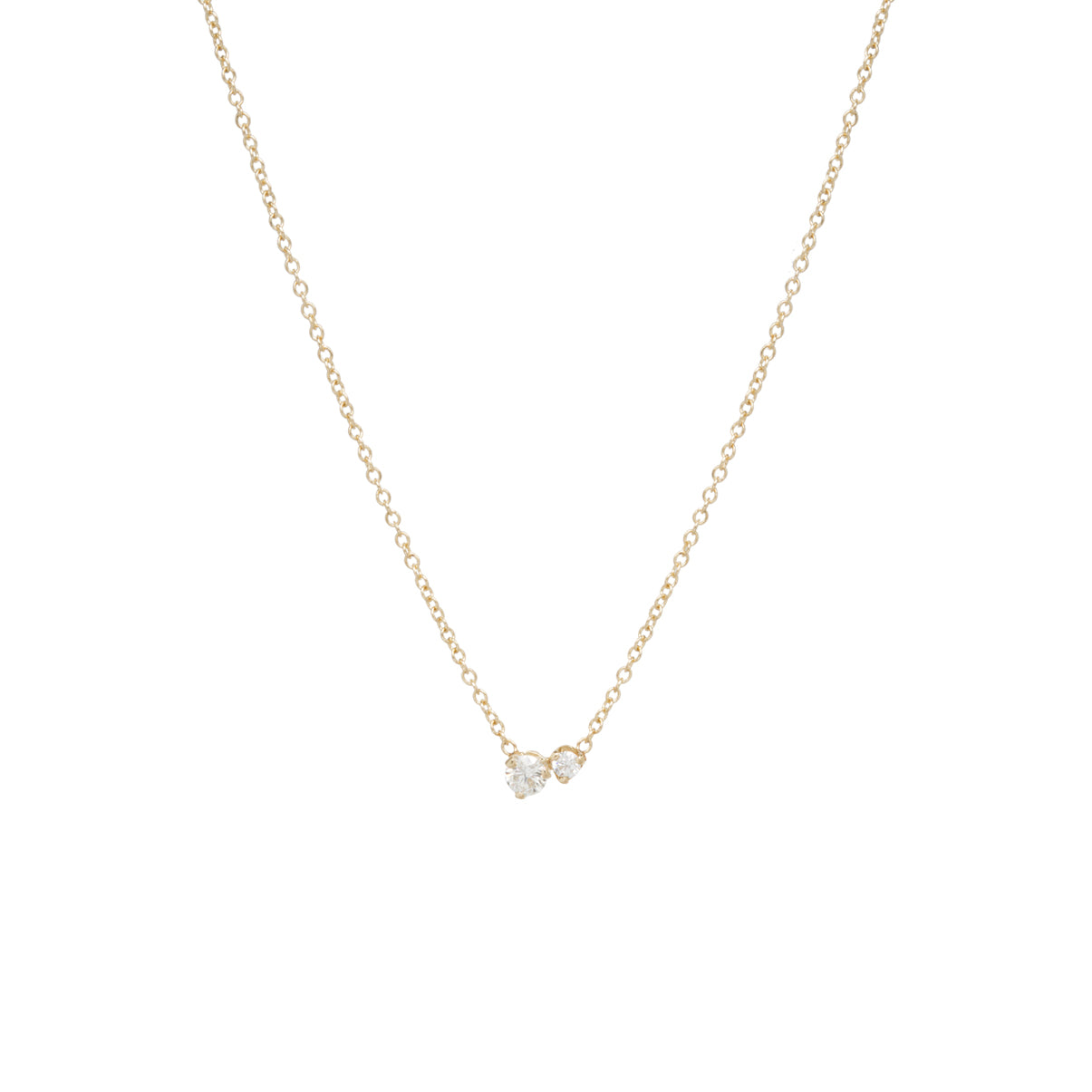 14k Large 2 Mixed Prong Diamond Necklace