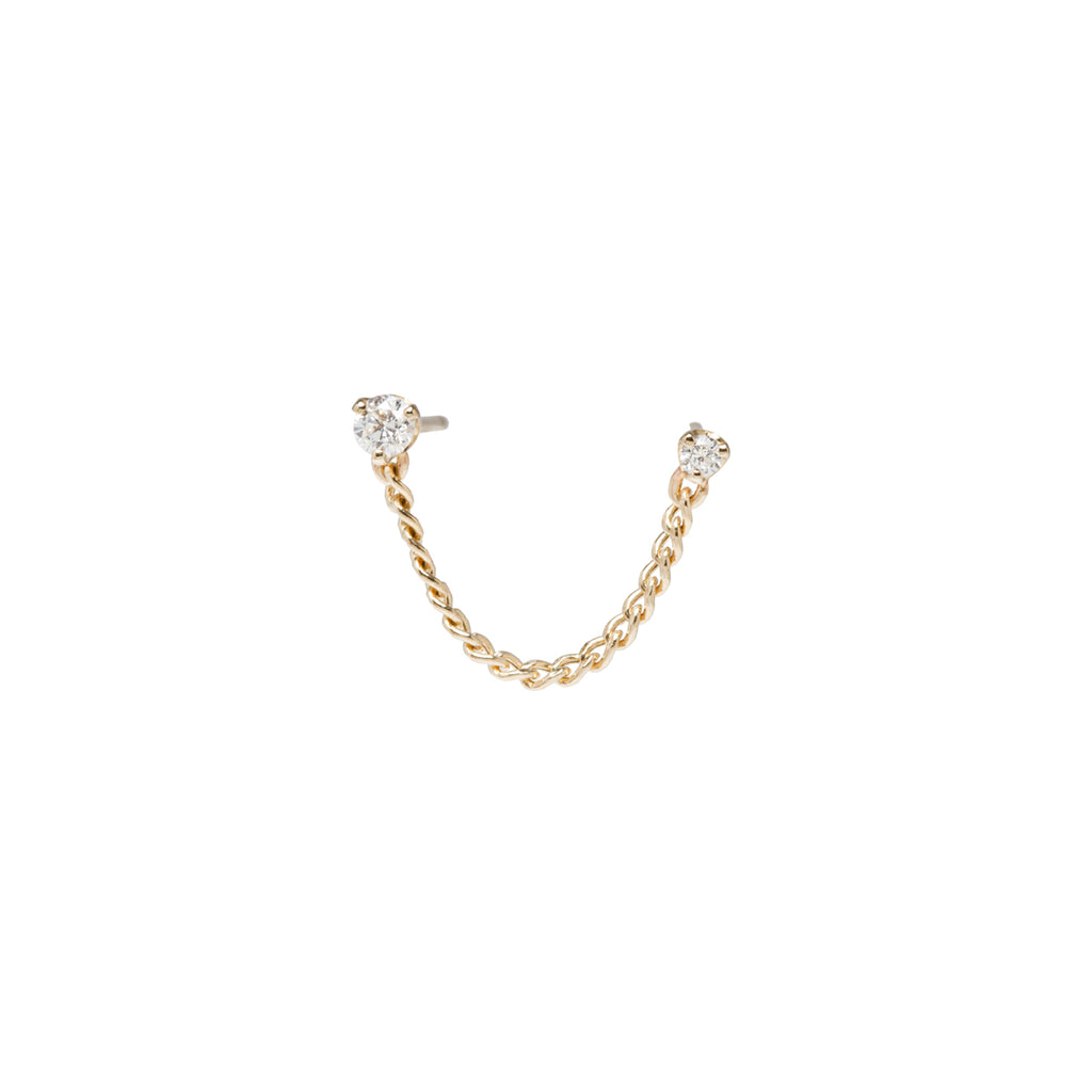 14k prong diamond extra small chain double stud earring