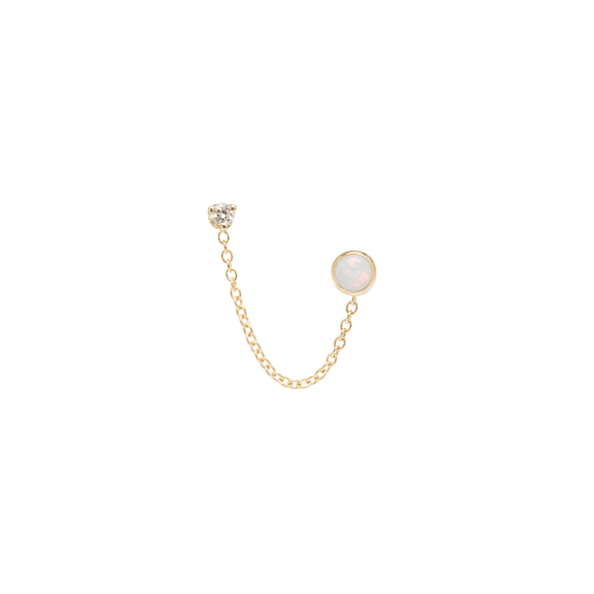 14k opal and diamond chain double stud earring