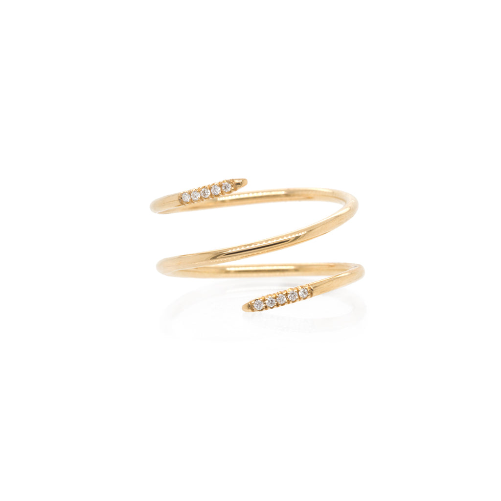 14k double wrap ring with pave diamonds