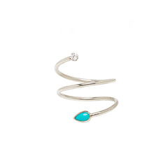 14k turquoise & diamond wrap ring